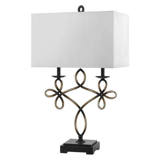 Norwalk Off-white/Bronze Resin Table Lamp