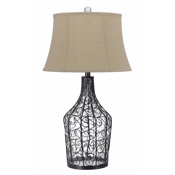 Palestine Black Iron and Glass 150-watt 3-way Table Lamp