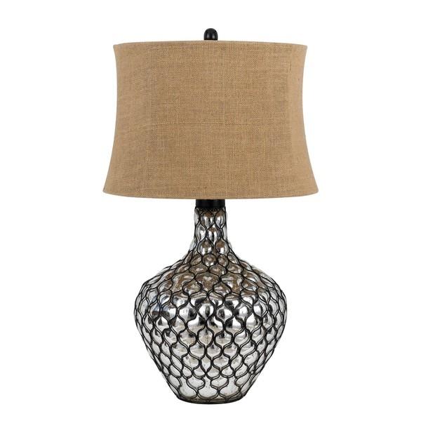 Puebla Brown/Silvertone Resin Table Lamp