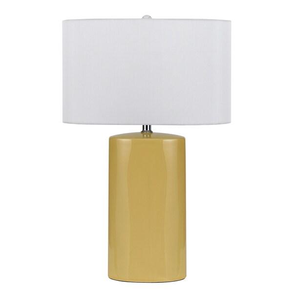 Minorca Yellow Ceramic 150-watt Table Lamp