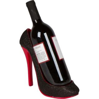 Trademark Innovations Black/Red Plastic High-heel Shoe Wine Bottle Holder