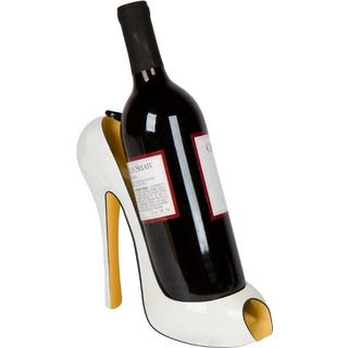 Trademark Innovations Ivory Plastic Peep Toe High Heel Wine Bottle Holder