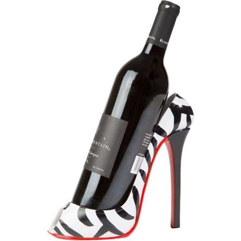 Trademark Innovations White and Black Plastic Zebra-print 8-inch x 7-inch High Heel Wine Bottle Holder