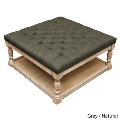 Cairona Tufted Textile 34-inch Shelved Ottoman Table (More Colors)