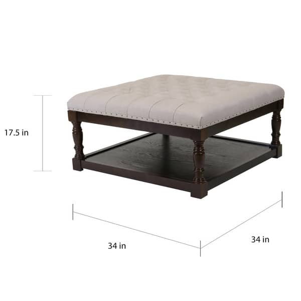Wondrous Shop Cairona Tufted Textile 34 Inch Shelved Ottoman Table Evergreenethics Interior Chair Design Evergreenethicsorg