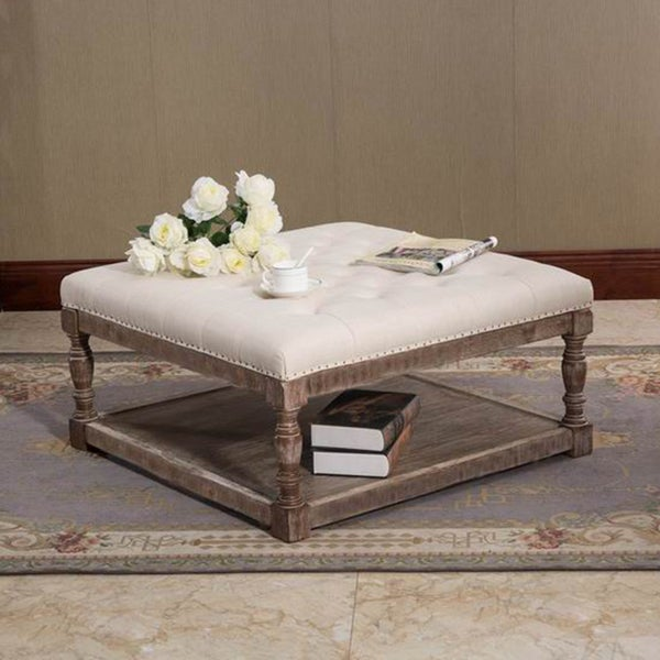 Cairona Cream Tufted Fabric 34 Inch Shelved Ottoman Free Shipping Today 20345645