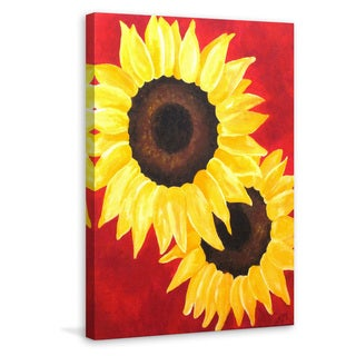 Marmont Hill - 'Red Sunflowers' by Nicola Joyner Painting Print on Wrapped Canvas