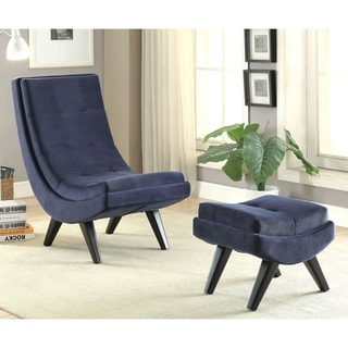 Furniture of America Novara Contemporary 2-piece Tufted Flannelette Curved Chair and Ottoman Set