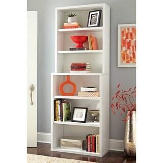 Decorative White 6-shelf Hutch Bookcase