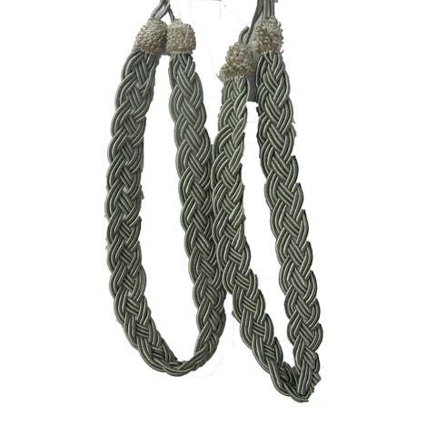 Vintiquewise Metallic Sage Rope Window Curtain Tieback Pair