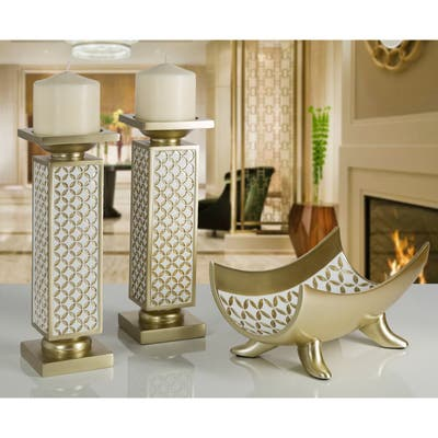 Diamond Lattice Gold-tone Polyresin Decorative Candle Holder (Set of 2)