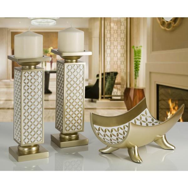 Diamond Lattice Gold-tone Polyresin Decorative Candle Holder (Set of 2). Opens flyout.