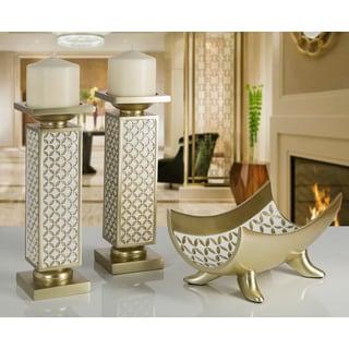 diamond lattice goldtone polyresin decorative candle holder set of 2