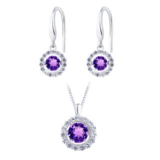 Simulated Amethyst Dancing Stone Silver Earring and Pendant Set