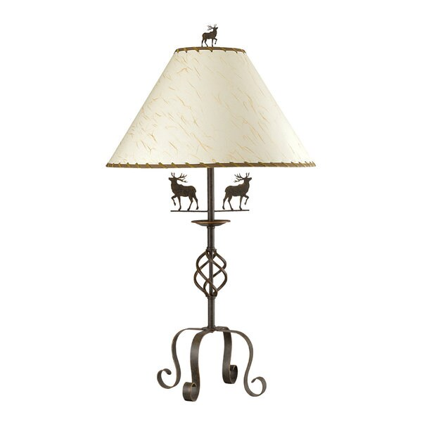 White/Brown Iron Deer-themed Table Lamp