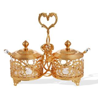 Matashi MTTD421 24k Gold-plated Crystal-studded Candy Dish/Salt Holder