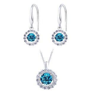 Women's Sterling Silver Simulated London Blue Topaz Dancing Stone Earring and Pendant Set