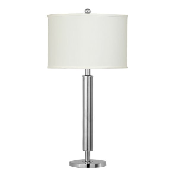 White/Chrome-finished Metal/Fabric 1-outlet Table Lamp