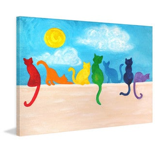 Marmont Hill - 'Rainbow Cats II' by Nicola Joyner Painting Print on Wrapped Canvas
