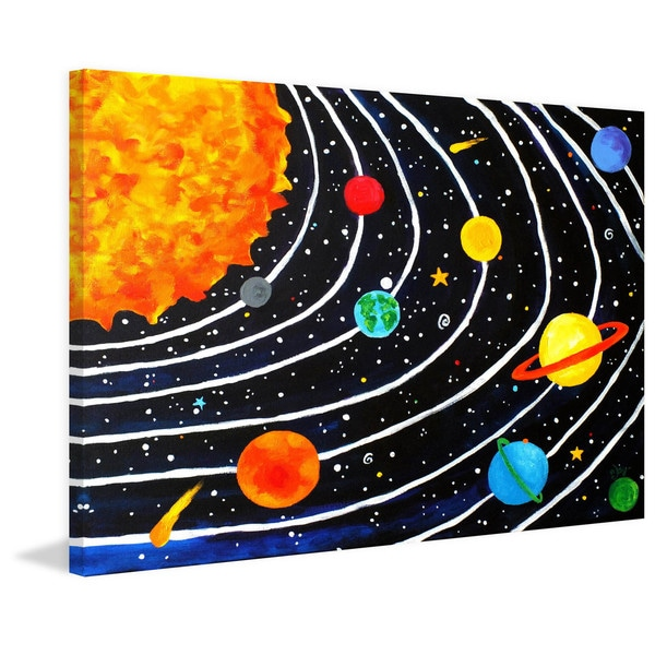 Marmont Hill - 'Solar System Black' by Nicola Joyner Painting Print on Wrapped Canvas - Multi-color