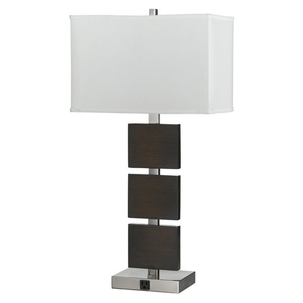 Brown Silver Steel Resin Table Lamp with Outlet