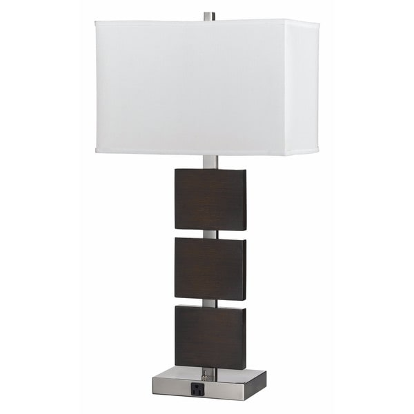 60-watt 2-light Rocker Switch Table Lamp with 2 Outlets