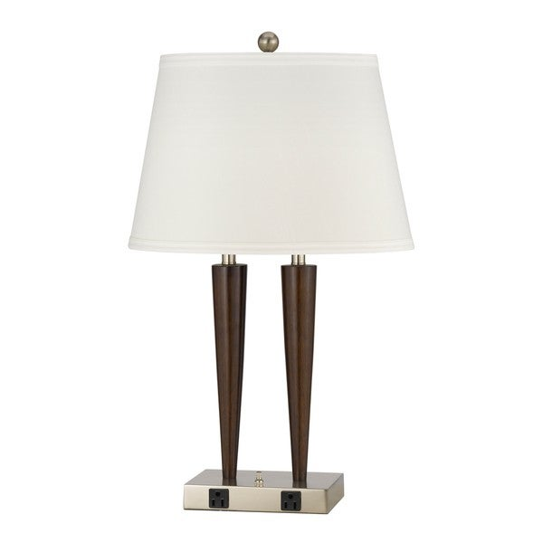 White/Silver/Brown Steel/Resin 2-Outlet Table Lamp