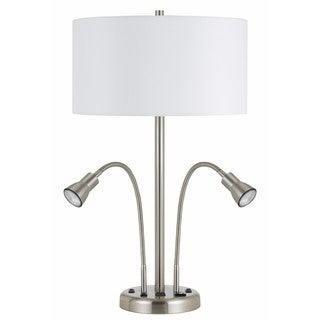 White/Silver Metal Contemporary Desk Lamp with Built-in USB Outlet