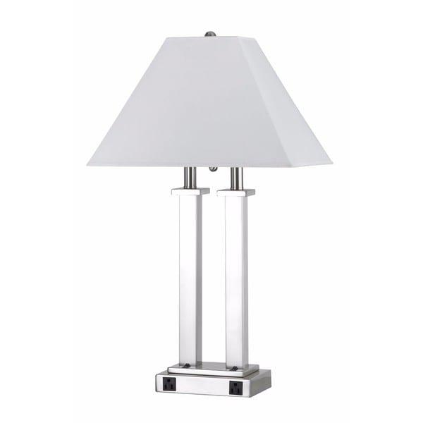 60-watt 2-light Rocket Switch 2-outlet Table Lamp