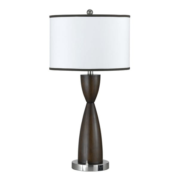White/Brown Steel Hourglass-shaped Table Lamp