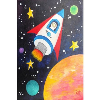 Marmont Hill - 'Rocket Ship' by Nicola Joyner Painting Print on Wrapped Canvas