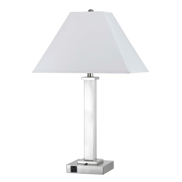 White/Silver Chrome-finished Metal Table Lamp