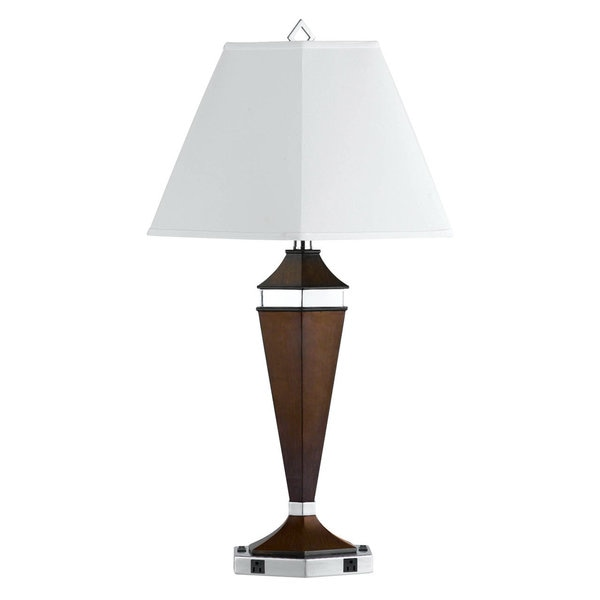 White/Silver/Brown Metal Two-outlet Table Lamp