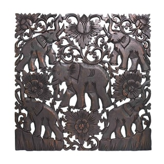 Wonderful Elephant Floral Greetings Hand Carved Teak Wood Wall Art 24x24 (Thailand)