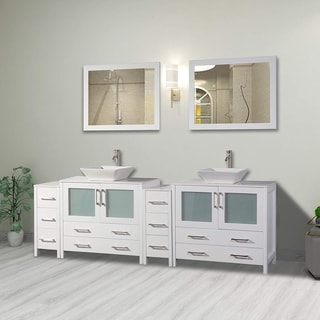 Vanity Art 96 Inch Double Sink Bathroom Vanity Set With Ceramic Top With Two Sets of Drawers