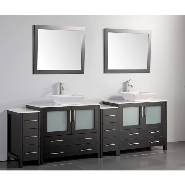 Shop Vanity Art 96 Inch Double Sink Bathroom Vanity Set With Ceramic Top On Sale Free