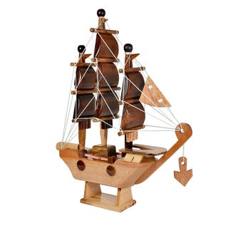 Feng Shui Sailing Prosperity Ship Handmade Wood Home Decor Figurine (Thailand)