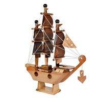 Feng Shui Sailing Prosperity Ship Handmade Wood Home Decor Figurine (Thailand)
