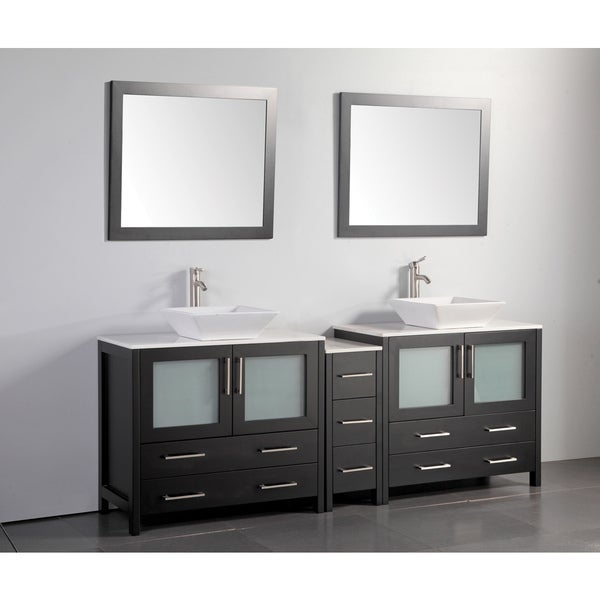 vanity art 84 inch double sink bathroom vanity set with ceramic top