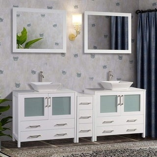Vanity Art 84-inch Double Sink Bathroom Vanity Set 7 Drawers, 3 Cabinets, 2 Shelves, Quartz Top with Free Mirror