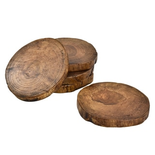 Handmade Teak Wood Natural Tree Bark Coaster Set of 5 (Thailand)
