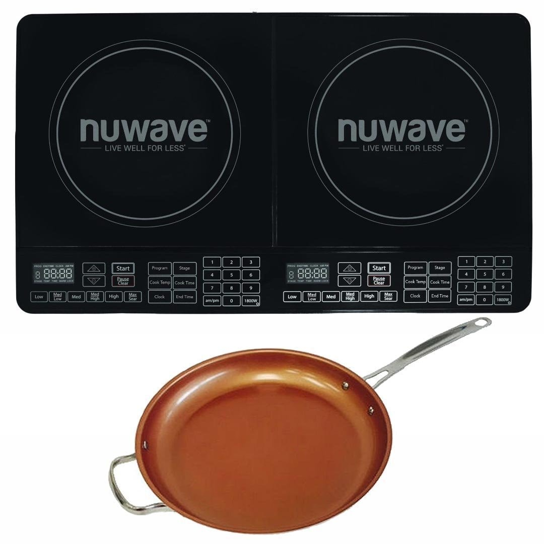 Nu-Wave Double Precision Induction Cooktop Burner w/ 12'' Ceramic Fry Pan