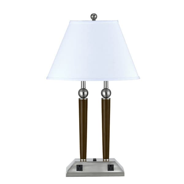 Brown Steel 2-light Table Lamp with Outlets