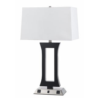 Black and Silver Steel 2-light Table Lamp with Outlets