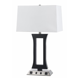 Black and Silvertone Metal 60-watt Lamp with White Shade and Two Outlets