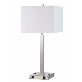 White/ Silver Steel 2-light Outlet Table Lamp