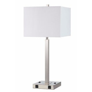 White/ Silver Steel 2 Light Outlet Table Lamp