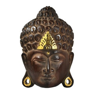 Serenity Natural Shine Buddha Wooden Mask Wall Art (Thailand)