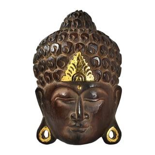 Serenity Natural Shine Buddha Wooden Mask Wall Art (Thailand)