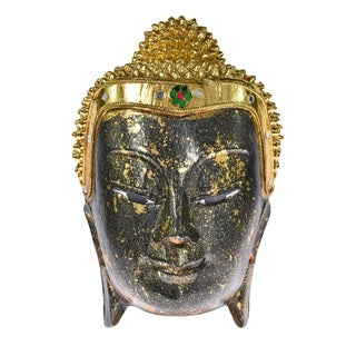 Golden Blessing Buddha Head Hand Crafted Wood Wall Art (Thailand)
